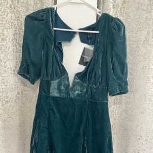 Teal velvet mini dress